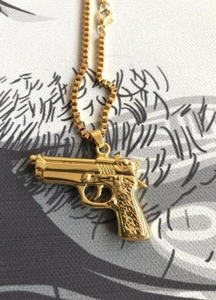 Подвеска пистолет хип хоп украшение