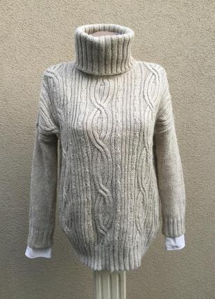 Тёплый,вязаный свитер,гольф,водолазка,кофта в косы,альпака-акр...