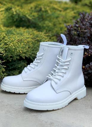 Кожаные ботинки dr. martens 1460 mono white шкіряні черевики