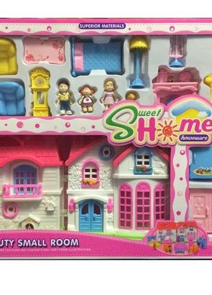 Детский кукольный домик c мебелью