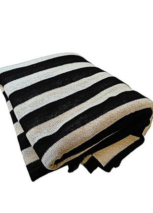 Бежевый черный полосатый трикотаж с золотым люрексом 180-180 с...