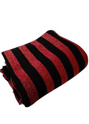 Красный черный отрез трикотажа в полоску с золотым люрексом, т...