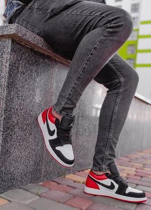 🏀 nike air jordan 1 low white/black/red🏀мужские осенние кроссо...
