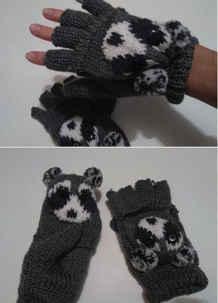 """Актуальные вязаные митенки с отстегивающейся варежкой """"панды"""" ..."""