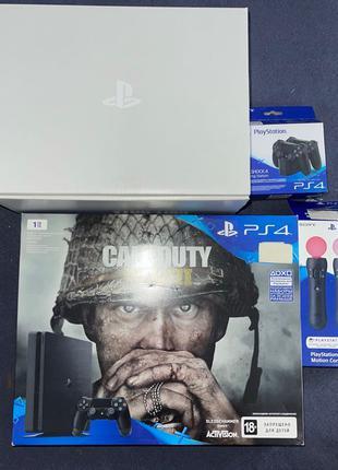 PS4 Slim 1TB, 1 игра, джойстик, док станция.
