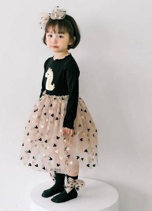 Платье для девочки с единорогом и микки маус