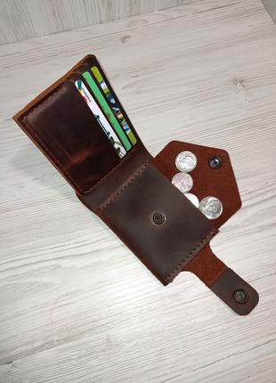 Кожаный мужской портмоне,ручной работы