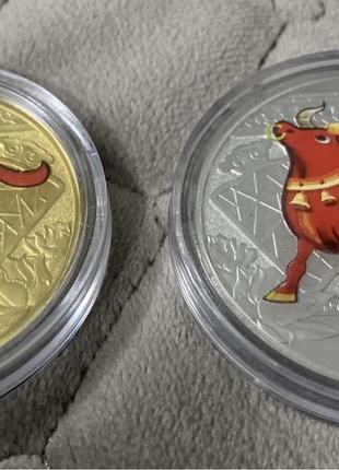 Подарок к году быка монетовмдный жетон символ года Бык