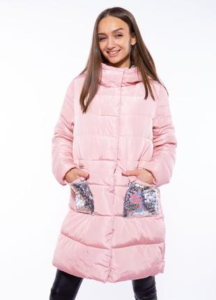 Теплая женская куртка с пайетками 120pskl5055 розовый