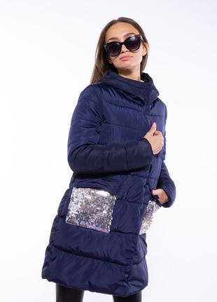 Теплая женская куртка с пайетками 120pskl5055 чернильный