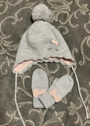 Шапка и варежки на флисе, зимний набор h&m