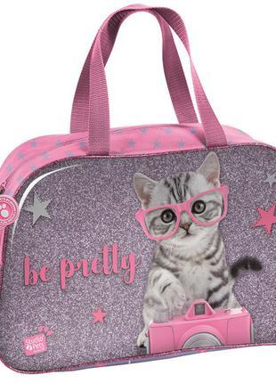 Спортивная сумка для девочки с котенком 13L Paso PTG-074