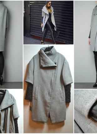 Теплое пальто с кожаными рукавами от zara