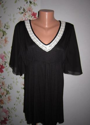 Свободная трикотажная блуза с шифоновыми рукавами и кружевом e...