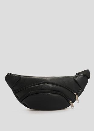 Черная поясная сумка  ,бананка кожа