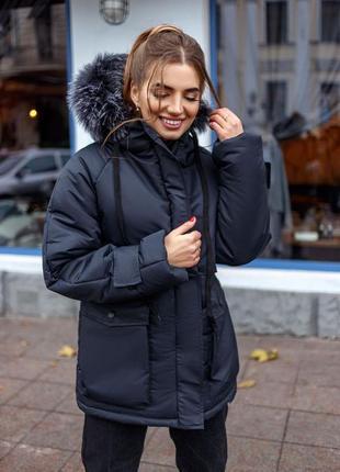 Парка женская зимняя куртка черная columbia