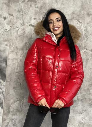 Куртка женская натуральный мех на капюшоне