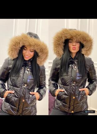 Куртка натуральный мех на капюшоне