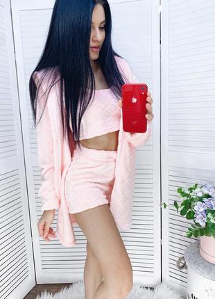 Комплет женской домашней одежды халат шорты топ
