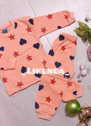 Пижама, детская пижама , пижама для девочек , персиковая пижама