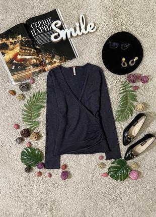 Актуальный мягкий джемпер пуловер на запах с шерстью и ангорой №