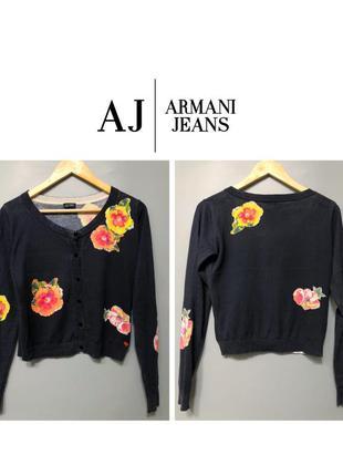 Armani jeans укороченный кардиган синий с цветочным принтом бр...
