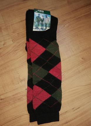 Теплые носки длинные гетры гольфы ромбики шерсть