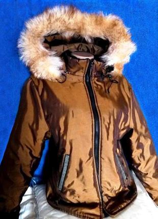 Куртка lenvit с золотистым переливом зимняя
