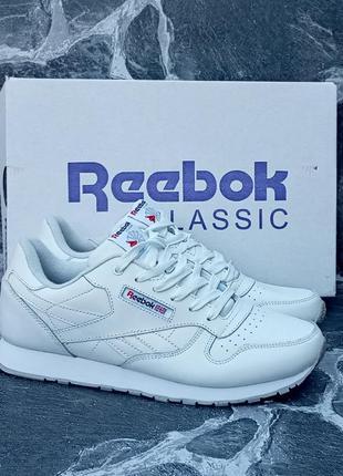 Мужские кроссовки reebok classic белые, кожаные, весенние