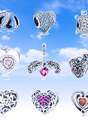 Серебряные шармы, подвески сердце для браслета Pandora, Bisaer