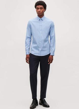 Голубая рубашка slim fit cos