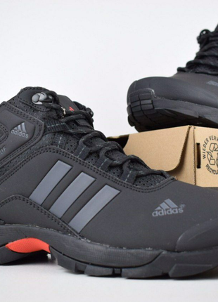 Кроссовки зимние Adidas climaproof черные (серые полоски)