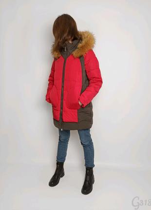 Пуховик жіночий Snowimage червоний сірий натуральний пух хутро
