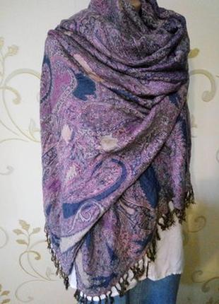 Красивый большой шарф шаль палантин 105х183 см без учёта кистей