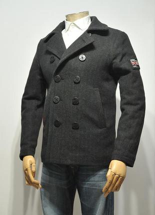 Двобортне пальто superdry rookie herringbone pea coat - m
