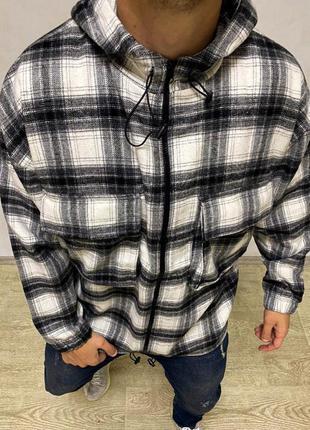 Мужская теплая рубашка в клетку