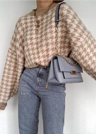 Удлиненный свитер трендовый свитер с гусиной лапкой