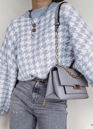 Удлиненный свитер трендовый голубой свитер с гусиной лапкой