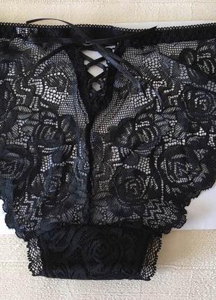 Кружевные трусики слипы с со шнуровкой черные annajolly