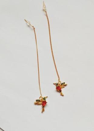 Длинные серьги с птицами птица птичка золотые с камнями цепь к...