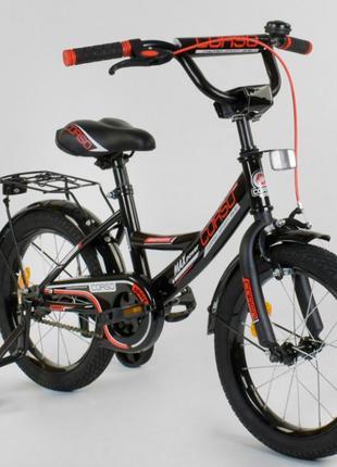"""Детский двухколесный велосипед с багажником 16"""" 4-6лет"""