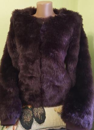 Женская меховая куртка шуба короткая шубка пиджак с длинным ру...