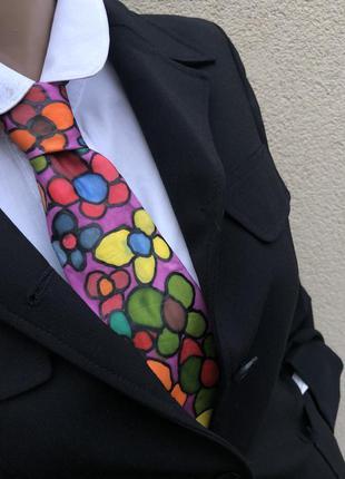 Винтаж,шёлк,галстук,краватка,цветочный принт,подписной