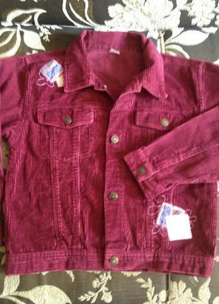 Вельветовый пиджачок для девочек 6-7 лет