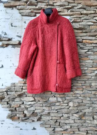 Шерстяное с карманами пальто кардиган большого размера