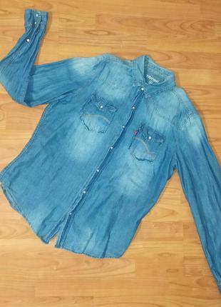 Джинсовая рубашка мужская летняя, весенняя