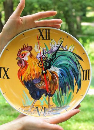 Круглые керамические настенные часы, часы с петухом, часы на п...