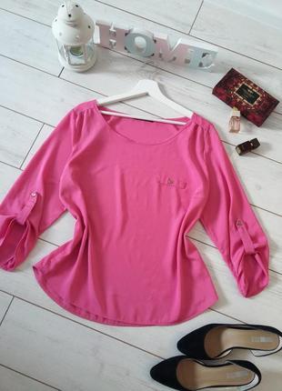 Блуза прямого силуэта фуксия...#00403