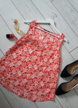 Шифоновая  блуза топ в цветы  прямого силуэта...#00120