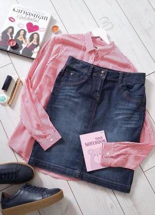 Стильная джинсовая юбка миди карандаш на талию, индиго..# 186